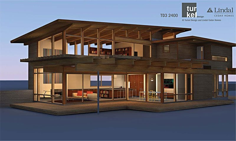 The TD3 2400, designed by Joel Turkel for Lindal Cedar Homes, and included in the 2009 Dwell Homes Collection. Learn about this home plan and others during the green home building webinar, tonight at 6pm Pacific.