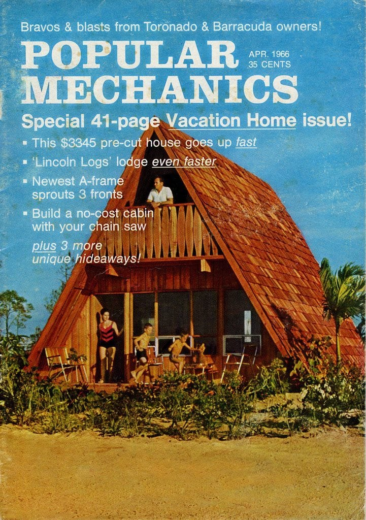 The patented Lindal A-Frame on the cover of  a 1966 issue of Popular Mechanics