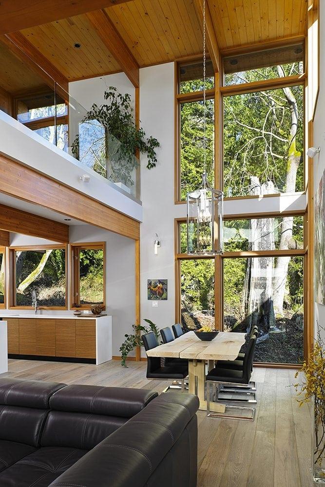 Modern Prefab post and beam home interior