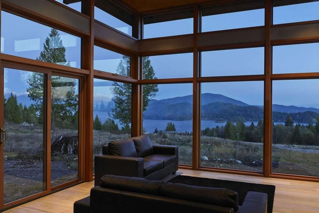 walls of glass are features in Lindal's modern prefab homes