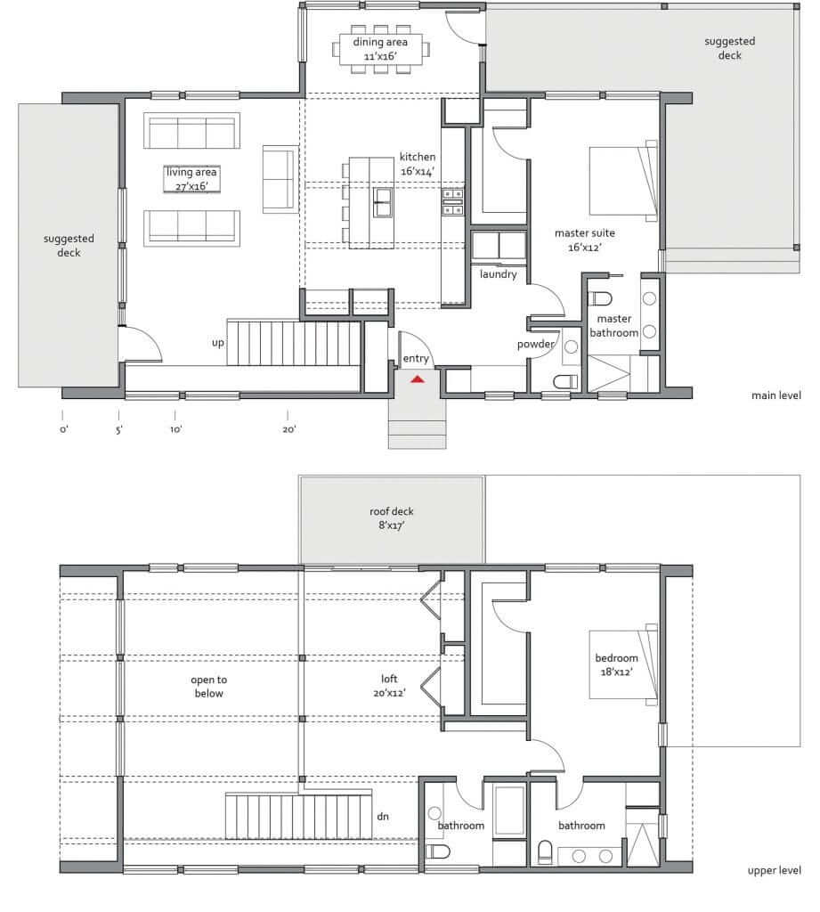 Zeroenergy 2330 home design for lindal cedar homes for Dwell homes floor plans