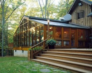 Back to back cedar-framed SunRoom.