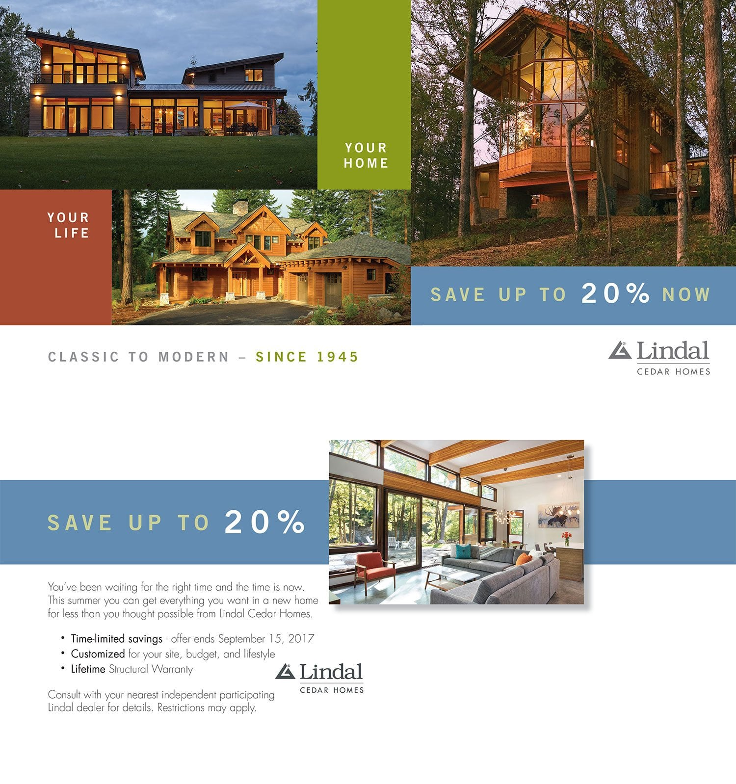 Summer 2017 Lindal Cedar Homes Sales Promotion