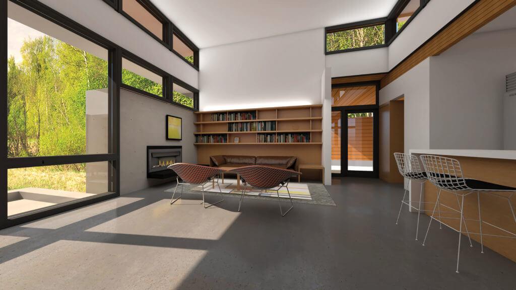 Usonian Mesquite LIS interior rendering