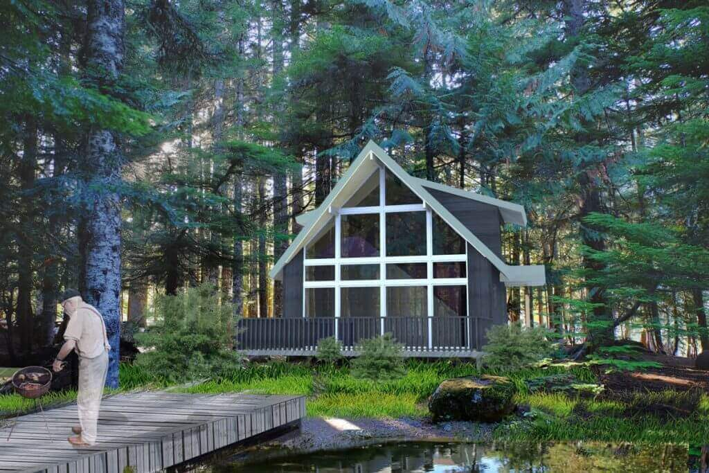 waterfront cabin kit rendering