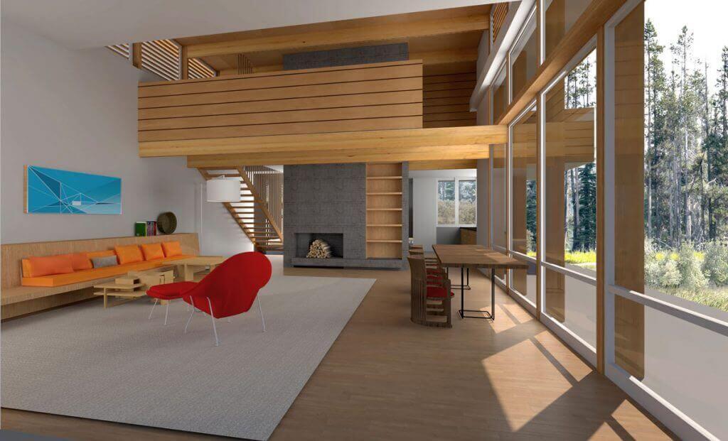 Lindal Crystal Springs Usonian Home Bachman Wilson LIS interior rendering