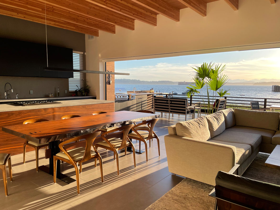 Beach House Plans Living Room with Lift and Slide Door